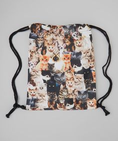 Loving this Kitschy Cute Black Cats Drawstring Backpack on #zulily! #zulilyfinds