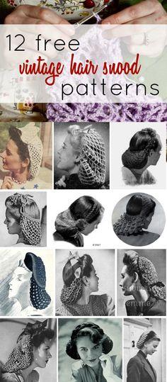12 free vintage hair snood patterns