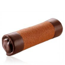 chocolate cigar - crunchy thin tuile cookie rolled around ganache and dipped in chocolate on either end.
