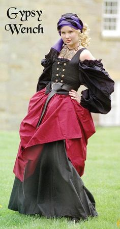 Wench modified to play a gypsy....note how no belly is showing. There's a reason for that!
