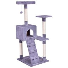 Grey Natural sisal rope, soft short plush cover Cat Tree With Ebook ** You can get more details by clicking on the image. (This is an affiliate link) Cat Tree Condo, Cat Condo, Platform Ladder, Condo Furniture, Wooden Furniture, Furniture Scratches, Cat Towers, Sisal Rope, Cat Scratching Post