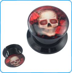 Hot Sale Human Skull Drop Oil Picture on Black Acrylic Plugs Ear Piercing Body Jewelry Ear Gauges