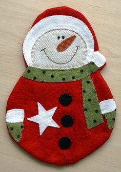 Schneemann Mug Rug selber nähen Weihnachten