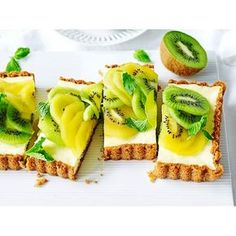 For some dessert ideas when entertaining, try making our quick and easy lemon and vanilla baked cheesecake recipe, complete with a kiwi fruit topping.