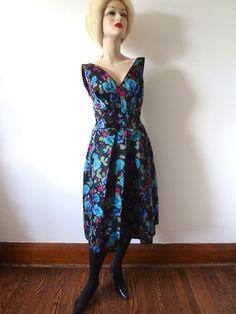 1950s Silk Cocktail Party Dress NESTdesignstudio on Etsy