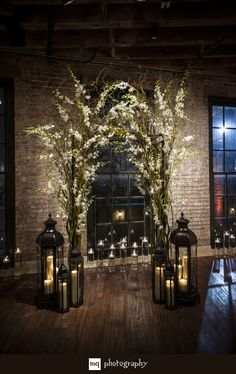 indoor wedding ceremony 30 Winter Wedding Arches And Altars To Get Inspired: Indoor branches and flowers arch with lots of candle lanterns Wedding Ceremony Ideas, Winter Wedding Arch, Wedding Aisles, Wedding Lanterns, Candle Lanterns, White Lanterns, Wedding Church, Loft Wedding Reception, Candlelight Wedding