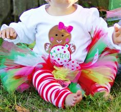 Personalized Polka Dot Gingerbread Girl Christmas Tutu Outfit. $54.50, via Etsy.