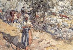 Carl Larsson - 1906 Cowgirl in the Meadow