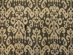 Woven Geometric Ikat Medium Weight Black Cream Cotton Blend Upholstery Fabric