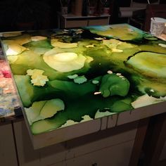 Fallen, mixed media on panel, 36x36, work in progress November by Andrea Pramuk http://www.andreapramuk.com