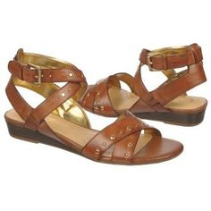 Women's Naturalizer Jester Wedge Sandal Saddle Tan Leather Shoes.com