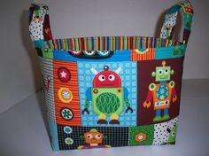 Robot Organizer bin / Fabric Basket Reversible by BridgetsStitches, $18.00