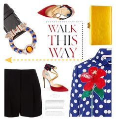 """Walk This Way ---->"" by pattykake ❤ liked on Polyvore featuring Miu Miu, Dice Kayek, Christian Louboutin, Anja, Edie Parker and DKNY"