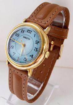 Men's Vintage Blue Watch Gold-plated  USSR RAKETA, Rare Soviet watch, Cool watch #Raketa #Casual #Raketa #Luxury #Gold #watch #gifthim #forhim #hipster