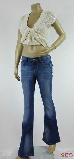 1f131db61b8 lei Sophia Hipster FLARE Jeans Sz 1 Reg JR Dark Denim Distressed Fade Low  Rise