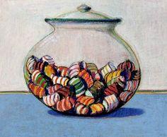 Wayne Thiebaud- Glassed Candy (1969) http://stilllifequickheart.tumblr.com/post/26280101442/wayne-thiebaud-glassed-candy-1969