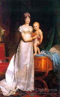 Marie-Louise, Empress of France with Her son Napoleon II, King of Rome oil painting by Francois Gerard