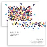 A shattered stained glass effect makes these geometric cards very attractive, and suitable for almost any profession – teachers, students, freelancers, casual workers and start up businesses would all make a bold first impression with these unforgettable cards.