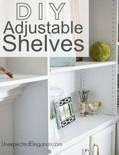 DIY Adjustable Shelves Create simple DIY adjustable shelves with an inexpensive tool!<br> Create simple DIY adjustable shelves with an inexpensive tool! Ladder Shelf Diy, Closet Renovation, Easy Diy, Simple Diy, Dyi, Diy Door, Fauna, Diy Home Improvement, Adjustable Shelving
