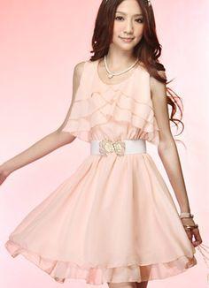 Graceful Ruffle Pink Chiffon Dresses With Belt