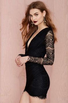 Reverse Havana Lace Dress - Black - Back In Stock | Going Out | Body-Con | LBD | Dresses