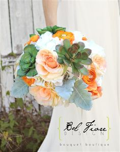 Bouquet with Succulents colorful peach roses by belfioredesign, $150.00