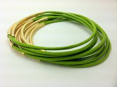 Fern Green Bangles from Leather Wraps
