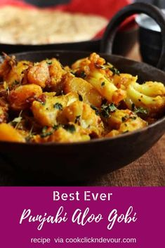 Aloo gobi recipe- spiced potato cauliflower fry with Indian spices. This is an easy, simple and quick recipe for dry aloo gobi that you can make in 20 minutes. One of the most popular side dish in Ind Gobi Recipes, Aloo Recipes, Chutney Recipes, Curry Recipes, Quick Recipes, Indian Food Recipes, Vegetarian Recipes, Cooking Recipes, Simple Indian Recipes