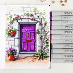 I don't know why but I love to draw doors. But some of them are so incredibly beautiful that I just must draw them.😄 May be I should make a series of door sketches. Easy Watercolor, Watercolor Landscape, Watercolor Paintings, Art Sketches, Art Drawings, Illustrations, Illustration Art, Sketchbook Inspiration, Art Sketchbook