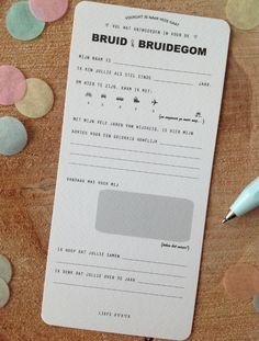 Wat een leuk idee. Gevonden op http://www.winkelvanpapier.nl/a-39740715/zoek-op-gelegenheid/invulkaarten-bruid-bruidegom/