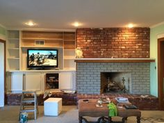 If you're SO over your outdated, brick fireplace, this might be the easiest way to dramatically transform it!