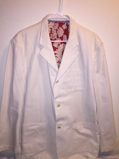 Tommy Hilfiger White Denim Blazer XL Men's 3 Button 3 Pocket Red Lined | Clothing, Shoes & Accessories, Men's Clothing, Coats & Jackets | eBay!