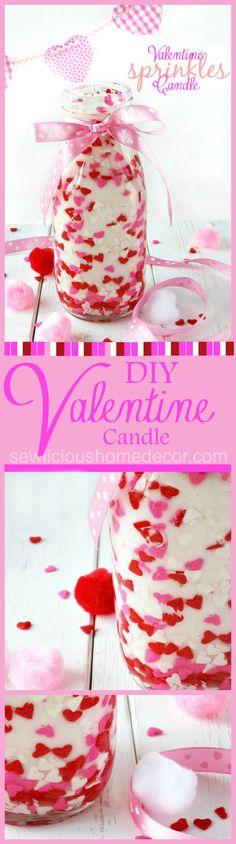 DIY Valentine Sprinkles Candle. Holiday gift ideas for under $5! Easy tutorial. sewlicioushomedecor.com