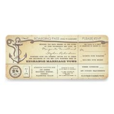wedding boarding pass-vintage tickets with RSVP Invites