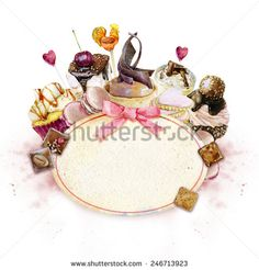 Watercolor image festive sweets - chocolates , cakes, cookies , candies frame in the center and with a pink bow. - stock photo