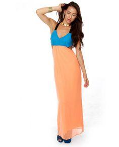 Moxie to the Max Blue and Peach Maxi Dress