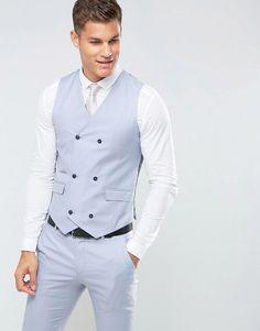 ASOS Wedding Skinny Suit Vest in 100% Wool In Ice Blue - Blue