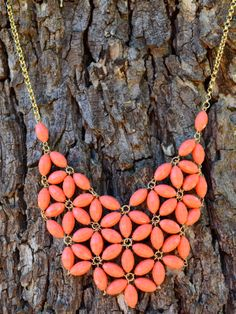 Coral Daisy Bubble Bib Necklace from The Charming Arrow Boutique