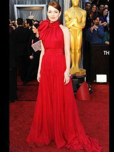 Oscar Awards Stone Sexy High Neck Bowknot Floor Length Red Chiffon Celebrity Dresses