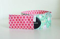 DSLR Camera Strap Cover - Hot Pink Polka Dot, Light Blue Floral, Cherry Blossom