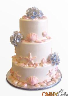 Hydrangeas Seashells Wedding Cake