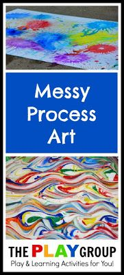 200+ Ideas for Messy Play Ideas from The PLAY Group including a section for messy process art to spark creativity in children.  Ideas are open ended with a focus on the process.