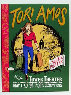 Tori Amos   Willie Porter     Tower Theater   5/1/1996   Artist: Les Toil   AoMR 484.10   Silkscreen   Edition of 500   21 x 29 inches