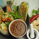 Summer Rolls with Spicy Almond Dressing