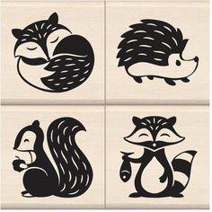 Inkadinkado Woodland Critters Mounted Stamp Set, by Inkadinkado Woodland Critters, Woodland Theme, Woodland Creatures, Woodland Forest, Stencil Art, Stencils, Scandinavian Folk Art, Arts And Crafts, Paper Crafts
