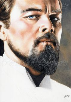 "Corinne's portraits - Leonardo DiCaprio (5) - Crayons de couleur/Colored pencils - Faber-Castell ""polychromos"" and Derwent ""drawing"" A4 - Daler Rowney 220 g MAI 2014... See More — with Corinne Vln and Cori Nne."