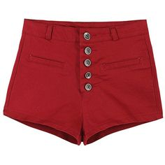 Solid-tone High-rise Buttoned Shorts ($23) ❤ liked on Polyvore featuring shorts, red, bottoms, pants, high rise shorts, button shorts, red short shorts, short shorts and highwaist shorts
