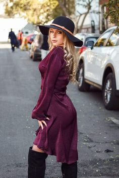 This luxurious dress is gonna put you in the spotlight girl. Featuring a sultry Zinfandel coloured satin fabric with a bishop sleeve and wrap over front. Style this with heels and you are good to go to the office or a night on the town. Bishop Sleeve, Satin Fabric, Spotlight, Wrap Dress, Autumn, Luxury, Night, Heels, Sleeves