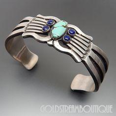 Native American Rick Martinez Navajo Sterling Silver Turquoise & Lapis Lazuli Retro Style Southwestern Solid Cuff Bracelet