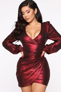 Metallic Mini Dress Puff SleeveTie Back Detail Stretch Self: Nylon MTL SpandexLining: PolyesterMade In U. Event Dresses, Day Dresses, Dress Outfits, Short Dresses, Dress Long, Blush Dresses, Short Outfits, Fashion Dresses, Rock Chic